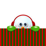 Snowman with earmuffs looking up and holding christmas blank Royalty Free Stock Photo