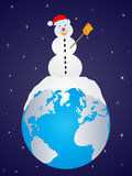 Snowman on earth Stock Image