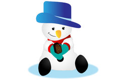 Snowman eating ice-cream Royalty Free Stock Images