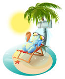 Snowman eating ice cream. Snowman in deck chair under air conditioner. Snowman under palm tree Royalty Free Stock Image