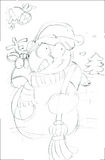 Snowman with elk behind,sketches and pencil sketches and doodles Stock Photo