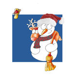 Snowman with elk and Christmas hat Royalty Free Stock Photo