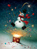 Snowman emitted from firecrackers. Holiday greeting card or illustration with cheerful snowman and fireworks. Computer graphics stock illustration