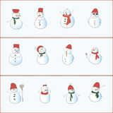 12 Snowman. 12 emotional volume snowmen in winter clothes Royalty Free Stock Images