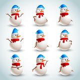 Snowman emotions set Royalty Free Stock Image