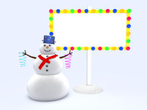 Snowman. And empty billboard for your text Stock Photos