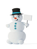 Snowman with empty blank. 3d cute blue snowman with empty blank Stock Photo
