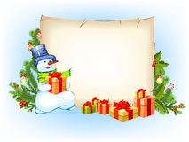 Snowman with empty blank and fir tree Stock Images