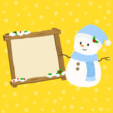Snowman and Empty Christmas Sign Vector Illustration Stock Photo