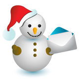Snowman and envelope Stock Photo