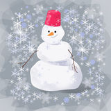 Snowman at the evening. Smiling snowman on the gray background royalty free illustration