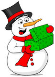 Snowman is excited about a Christmas gift Royalty Free Stock Photography
