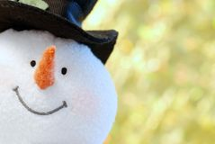 Snowman face close up. With a gold background Royalty Free Stock Images