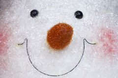 Snowman face. Close up on a the face of a snowman decoration Stock Photo