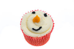 Snowman face cupcake Royalty Free Stock Photography