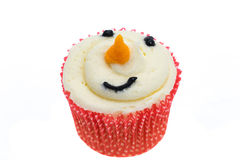 Snowman face cupcake Stock Photos