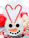 Snowman face glass bowl, kid diy for Christmas, sweet treats for Stock Images