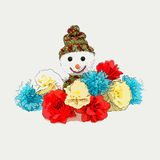 Snowman and fake flowers illustration Stock Images