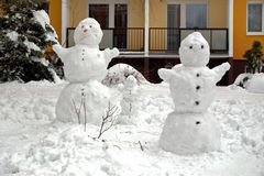 Snowman familie Stock Photo