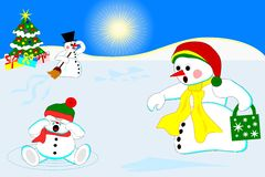 Snowman family. On snowy plain, Christmas motive stock illustration
