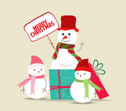 Snowman family christmas card Royalty Free Stock Images