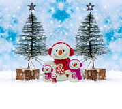 Snowman family, Merry Christmas day Royalty Free Stock Image