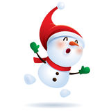 Snowman feeling excited Stock Images