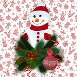 Snowman with festive decoration. Illustration of snowman with fir tree, holly berry branches, Christmas ball, streamers and background with Christmas symbols Royalty Free Stock Image