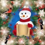 Snowman with festive winter background. Illustration of snowman with scroll, fir tree, holly berry branches, cones, bullfinch birds and snowflake background Stock Photos