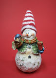 Snowman Figure. Photo of a Snowman Figure on red background Stock Photography
