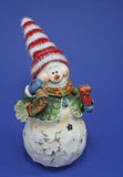 Snowman Figure. Photo of a Snowman Figure on blue background Stock Images