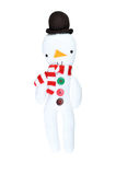 Snowman Figure on White Background. Christmas toy knitted in wool Royalty Free Stock Images