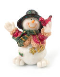 Snowman figures. Miniature Snowman statues in different poses against white background with clipping paths stock photos