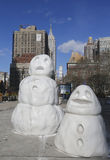 Snowman figures at Madison Square in Manhattan Royalty Free Stock Image