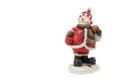 Snowman figurine. Smiling snowman figurine with white background Stock Image