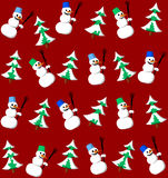 Snowman and fir seamless pattern. Snowman with bucket and fir seamless pattern Royalty Free Stock Image