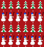 Snowman and fir seamless pattern. Snowman with bucket and fir seamless pattern Royalty Free Stock Photo