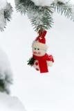 Snowman on a fir tree Royalty Free Stock Photo