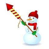 Snowman firework hat scarf winter fun. Snowman firework rocket hat scarf winter fun Royalty Free Stock Image