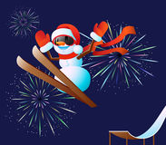Snowman and fireworks Stock Photo