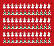 Snowman and firs pattern Stock Photo