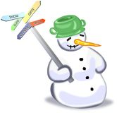 Snowman with five ways guidepost. Snowman with green pot holding five ways guidepost Stock Photos