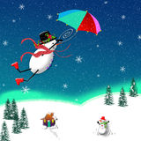 Snowman in Flight Stock Images