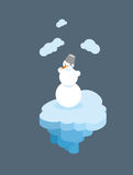 Snowman on  floating island. Christmas character  Royalty Free Stock Photo