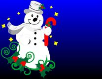 Snowman with flowers and candy cane background Stock Photos