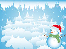 Snowman in the Forest Royalty Free Stock Images