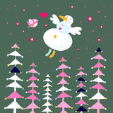 Snowman and forest Royalty Free Stock Photos