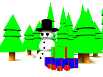 Snowman In Forest. A Christmas scene of a snowman in a forest Royalty Free Stock Image