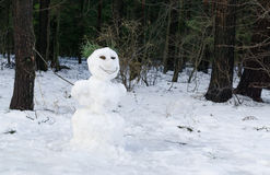 Snowman on forest background Royalty Free Stock Photo