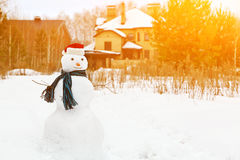 Snowman in a forest Royalty Free Stock Photos